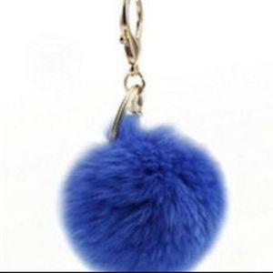 Accessories - Blue pom pom keychain
